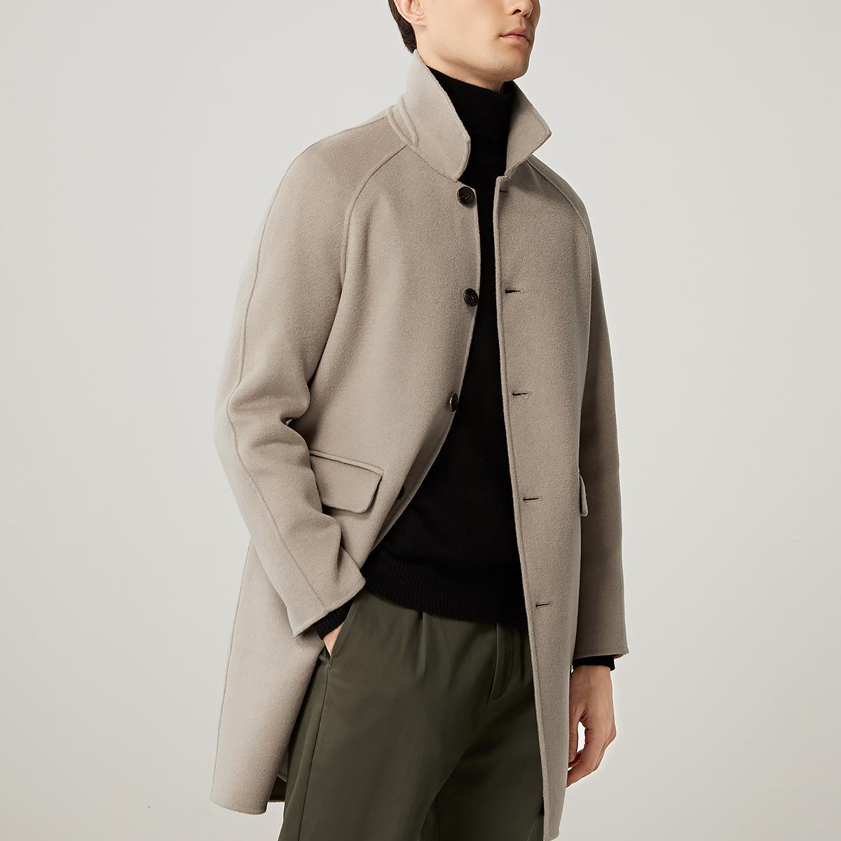 Шерстяная середина длинного дюссилаго новое красивое мужское пальто досуг британский стиль 8300