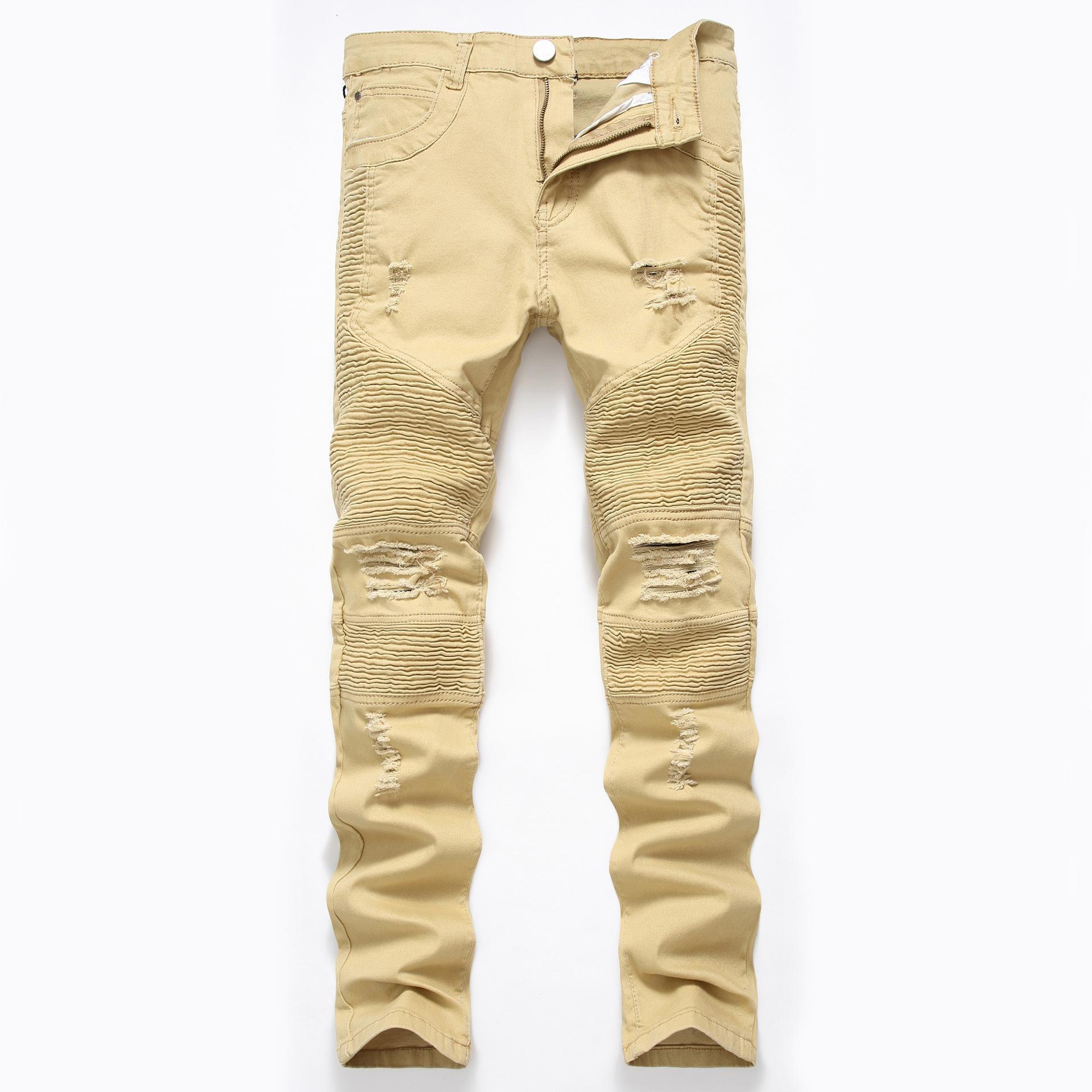 Khaki Biker Jeans Falten Design Herren Dünne dünne dünne Stretch Denim Hosen Neue Ankunft HIP -Hop Street Ripping Jeans