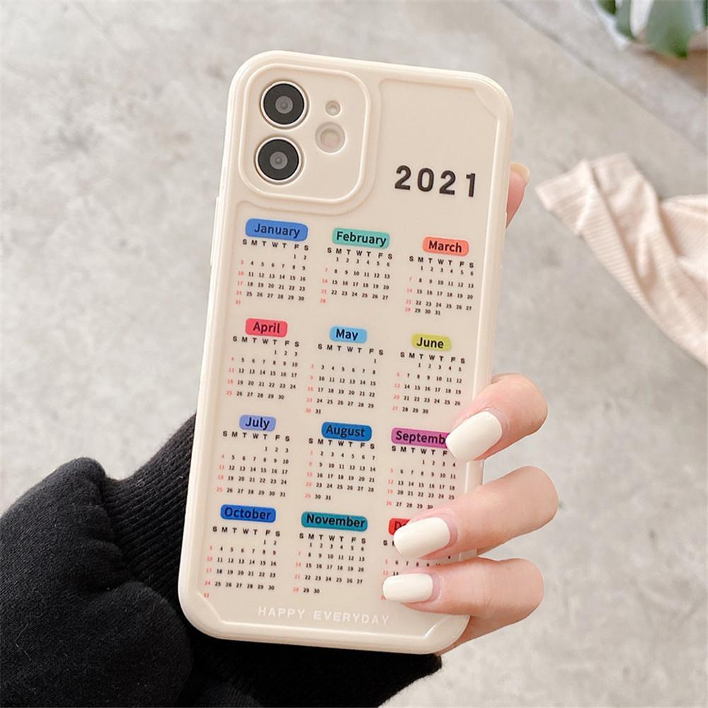2021 iPhone 11 12 Pro Max XR x 7 8 플러스 소프트 TPU 케이스에 대한 새로운 캘린더 날짜 케이스