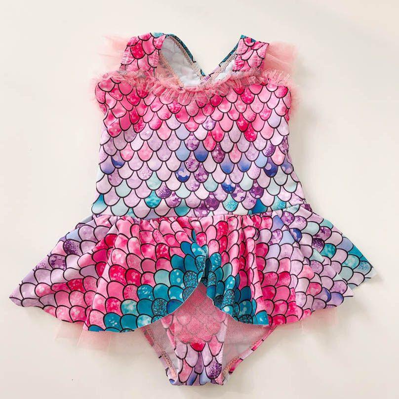 Mermaid Girls Swimwear Kids Swimsuits Lace One-piece Bikinis Cute Princess Kids Bathing Suits Child Sets Beachwear 2-7Y B4010