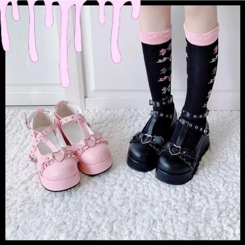 Dress Shoes Lolita Donne Punk High Tacchi alti Chunky Sneakers Piattaforma Girls Thinken Heel College Student Costume Cosplay