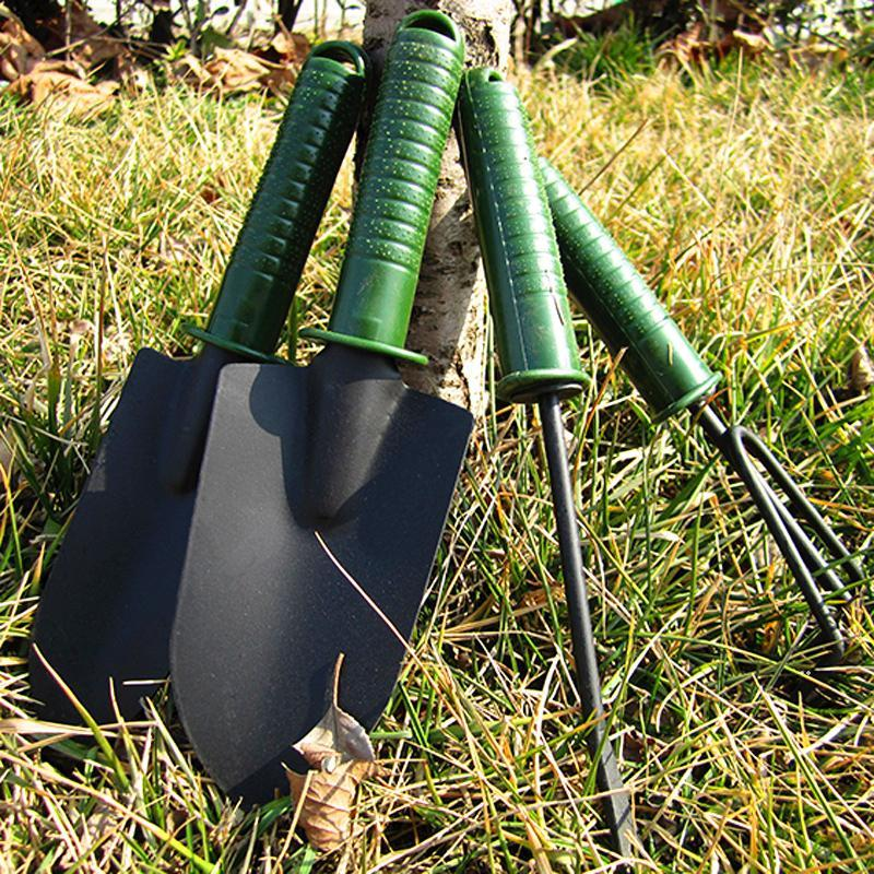 multi-functional gardening tool kit small shovel three-toothed rake four-piece garden tools combo soil-growing weeding tools FWF8528