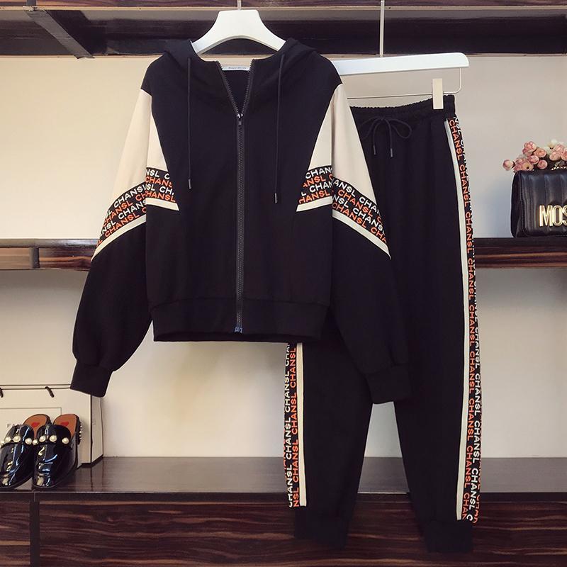 Sonbahar Artı Boyutu Spor Takım Elbise Kadınlar Vintage Baskılı Kapüşonlu Kazak Kazak Üst Ve Casual Pantolon İki Adet SE TDKF