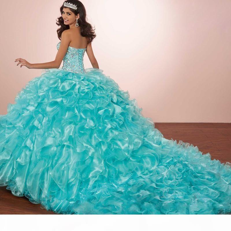 Luxury Crystals Princess Puffy Quinceanera Dresses Turquoise Ruffles Vestidos De 15 Masquerade Prom Dresses 2019 with Bolero jacket
