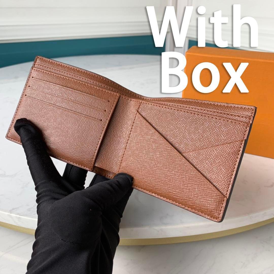 Pariser Plaid-Stil Herren Brieftasche Mode Männer Geldbörse Spezielle Leinwand Multiple Kurzer kleine Bifold-Geldbörse mit Kasten 60895