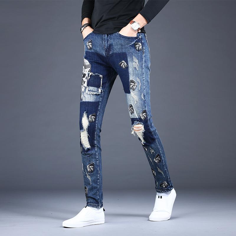 Yama Erkekler Mavi Yırtık Kot 2021 Moda Kore Tarzı Nakış Sıkıntılı Slim Fit Kalem Pantolon Streetwear Denim Tro T31W