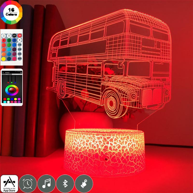 Double-decker Bus 3D LED Night Light Lamp 16 Colors 3D Night light Remote Control Table Lamps Toys Gift For Home Decoration