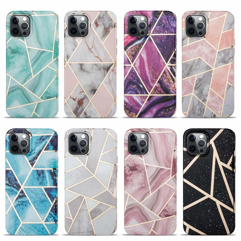 Bling di lusso in marmo Geometrico Geometrico morbido IMD Case TPU per iPhone 12 Pro Max 11 XR XS Max 8 7 6 6 SE 2020 Rock Stone GRANITE Copertura cromata