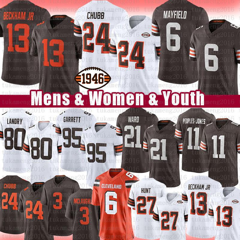 "Baker Mayfield Nick Chubb Football Jersey Odell Beckham Jr. Jarvis Landry Myles Garrett Kareem Hunt Denzel Ward Cleveland ""Browns"" povos-Jones Owusu-Koramoah"