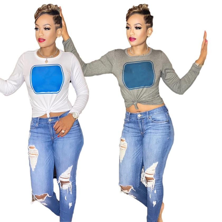 Women Tops long sleeve T-shirt Summer clothing casual pullover sweatshirt Letter print tees white T-shirts 2XL Plus size clothes 4515