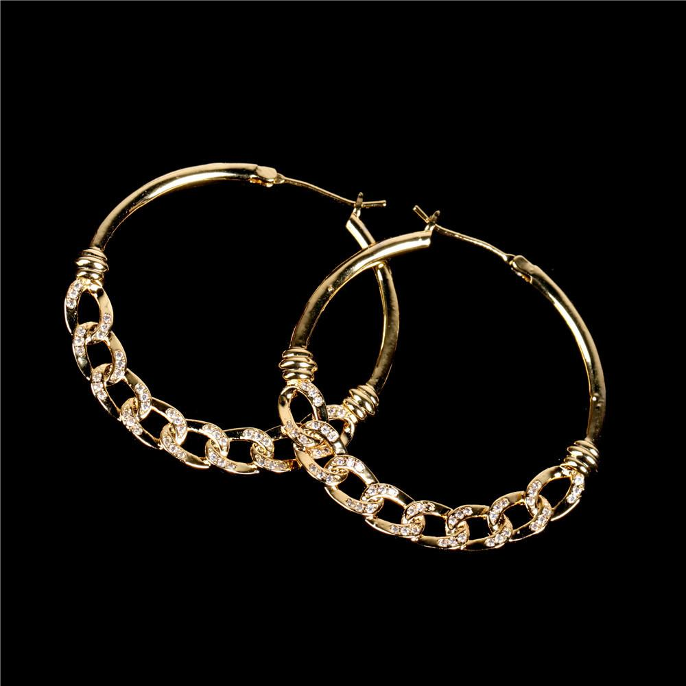 The new style earring INS fashion personality with diamond super big jewelry C-shaped hollow Cuban chain earring