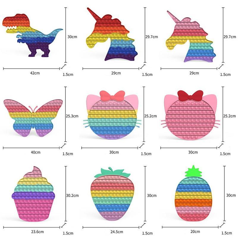 Big Size Fidget giocattoli dito bolla bolla arcobaleno ananas fragola silicone antistress bambini adulti sensoriale stress reliever decompressione giocattolo lasciati rilassare