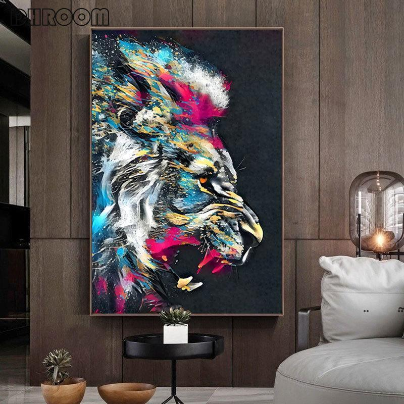 new Paintings Abstract Colorful Lion Painting Modern Animal Wall Art Picture Cuadros For Artwork Poster Canvas Home Decoration EWD7756