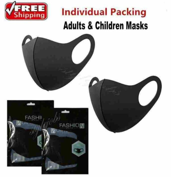 DHL Ship Designer Washable Protective Face Masks Black Cotton Reusable Adult Kids Anti Dust Cycling Mouth Mask Children Cloth Masks