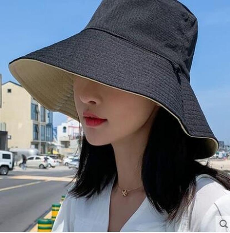 Geniş Brim Şapka Erkekler Kadınlar Için Katı Çift Taraflı Kova Şapka Seyahat Açık Balıkçı Vizör Cap DM1100