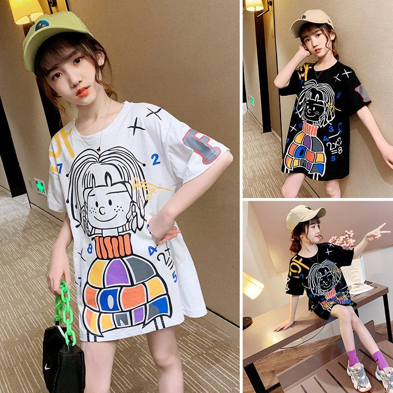 2021 новая детская футболка с хлопковой футболкой, летние летние свитера девушка 10-12 14Y K1BK