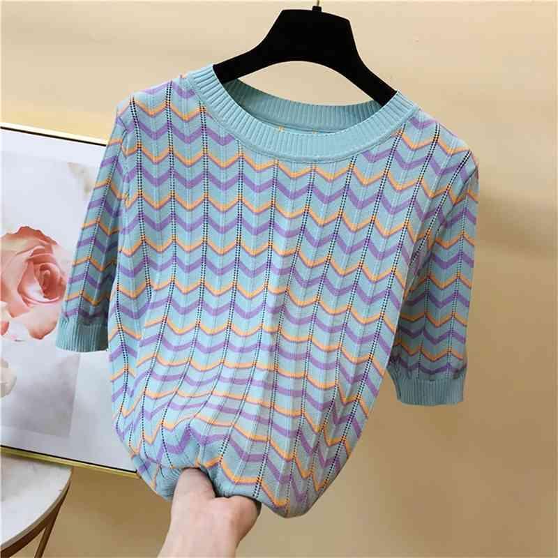 Kadın T-shirt Moda Çizgili Kısa Kollu O-Boyun Örme T Gömlek Kadın Casual Beyaz Pembe Mavi Düz M-l Yaz Giysileri Tops