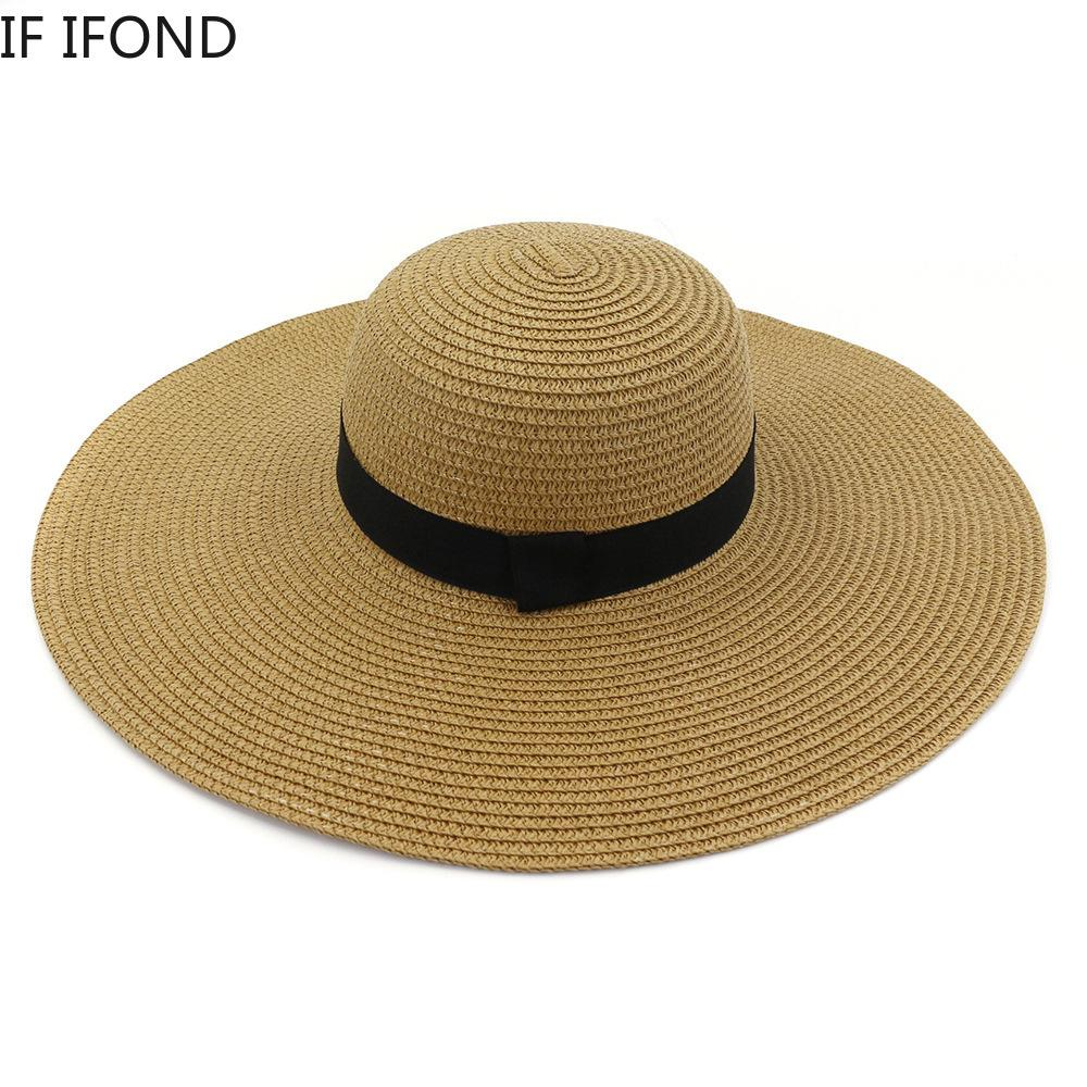 Estate Grande Brim Paglia Cappello Sole Cappello Spiaggia Pieghevole Protezione UV Panama Cappelli Nuovo 2020 Y0223