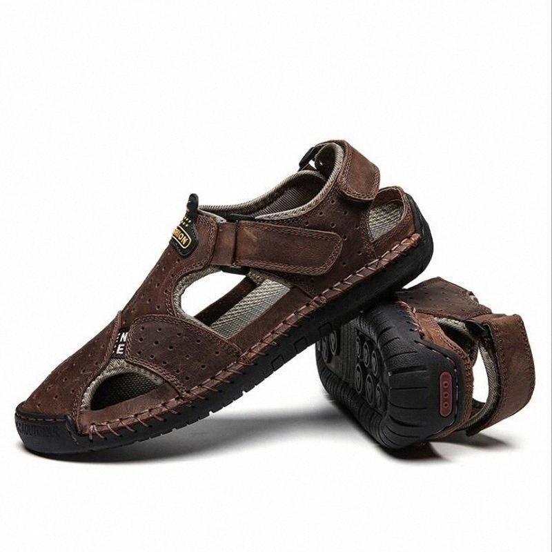 Летние дышащие плоские мужчины сандалии мода открытый повседневный пляж мужская обувь мужчины мягкие кожаные сандалии плюс размер 38 48 сандалии высокие каблуки D2DF #