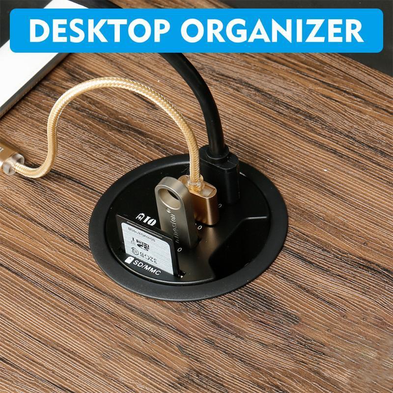 HUBS TYPE C USB3.0 USB HUB Mount in Desk Multi 2.0 Puertos con auriculares SD / TF / ADAPTADOR DE ALIMENTACIÓN DE PORT DE MIRCIPOFONE 5V 2A