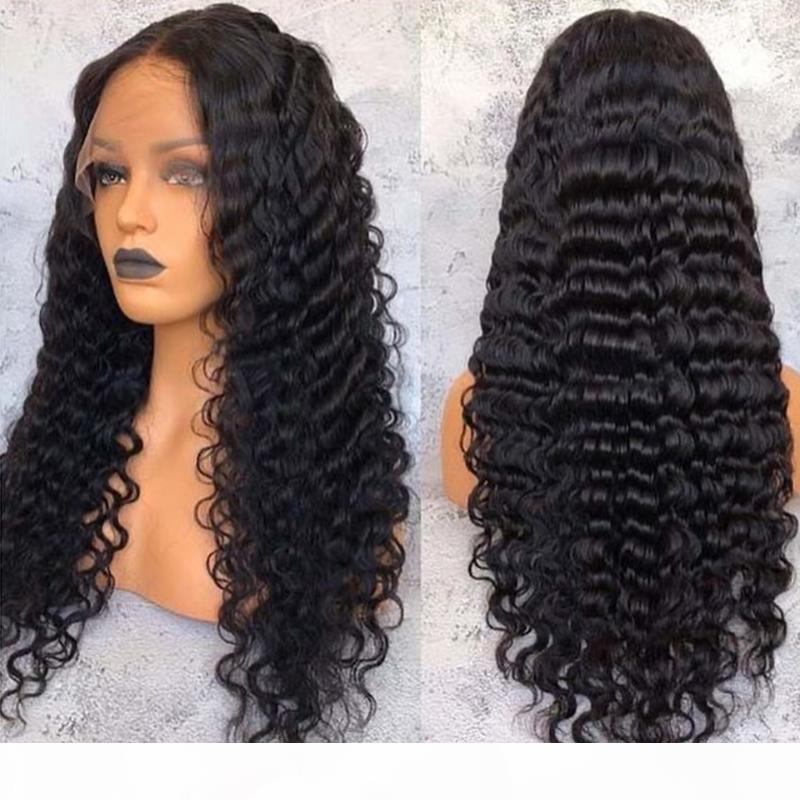 130% плотность глубокой волны волосы волосы ременные волосы 13x4 бразильские кружева на 100% человеческие парики для чернокожих женщин с младенцем JKO