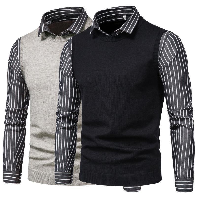 Мужские повседневные свитера Новый осенний трикотаж полосатый отворот Поддельные две изношенные наружные свитер рубашки мужские топы