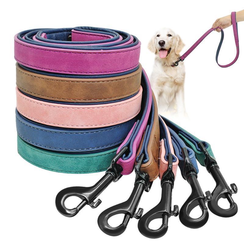 الكلب المقود تسخير الجلود الرصاص كلب جرو المشي الجري متوسطة المقاود الصغيرة الكلاب حزام حبل كبير معدات تدريب الحيوانات الأليفة