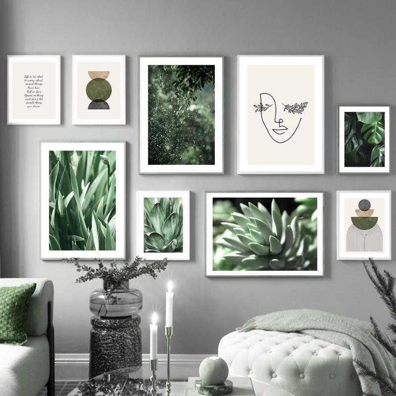 Pinturas Suculenta Planta Monstera Olive Leaf Girl Wall Art Canvas Pintura Nórdica Posters y Prints Imágenes para sala de estar decoración