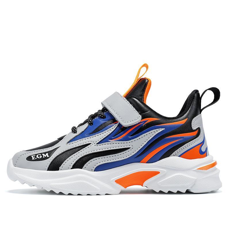 Black Orange Flaming Jungen Schuhe Frühling Herbst Neue Kinder Sport Jungen Alte Sneaker Leder-Ledergefroren Running Flut