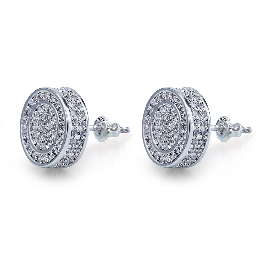 New Fashion Earrings For Stud CZ Round Out Earrings Mens Silver Mens Gold Diamond Punk Rock Bling Iced Wedding G Osgpf