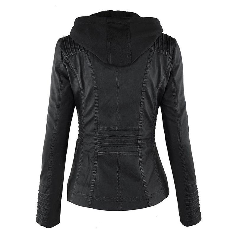 Kadın 2021 Yeni Sonbahar Kış Faux Yumuşak Deri Ceketler Mont Lady Siyah PU Fermuar Epaule Motosiklet Stree 3EVP