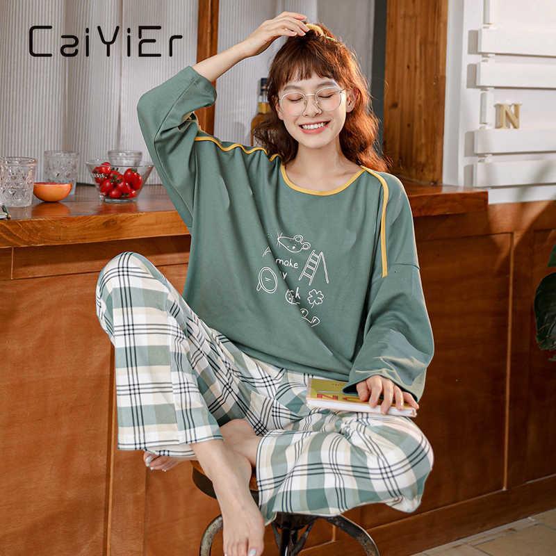 Caiyier otoño invierno dibujos animados pijamas conjunto de manga de algodón top + pantalón largo mujer ropa de dormir lindo ocio homewear hembra
