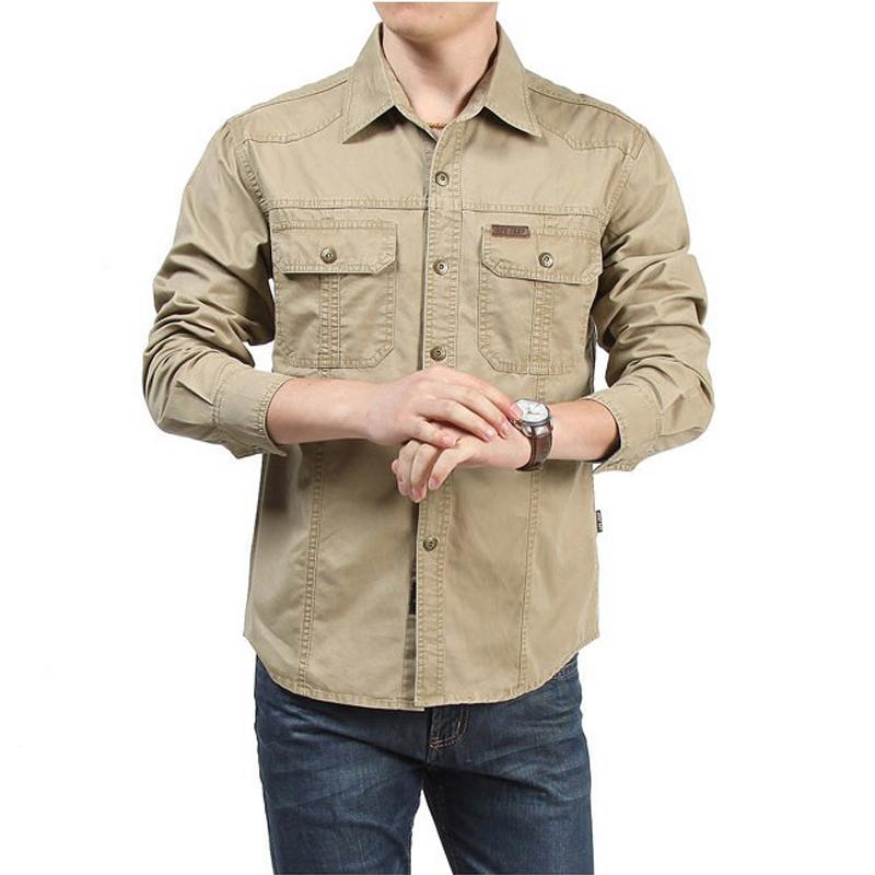 Taktik Gömlek Erkekler Giysileri 2021 İlkbahar Sonbahar Elbise Gömlek Erkek Pamuk Uzun Kollu Ordu Rahat Artı Boyutu 4XL 5XL 6XL