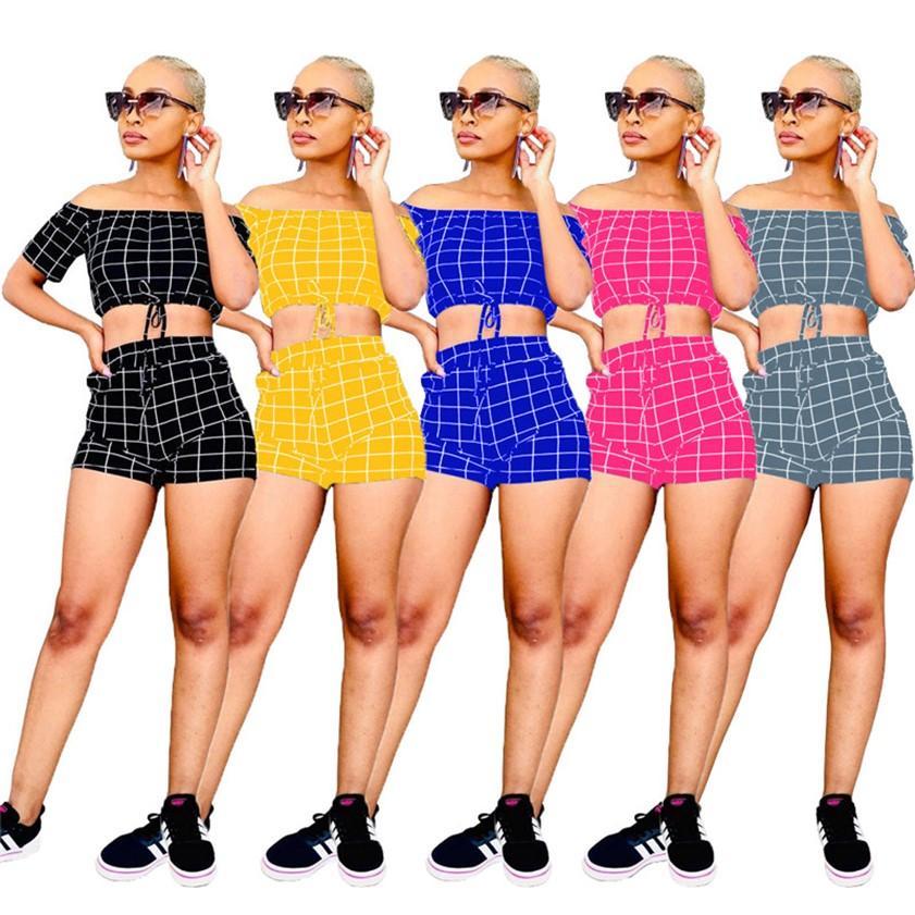 Due PCS Sexy Tracksuit Estate Donne Abiti Donne Crop Top + Pantaloncini Plaid Sweatsuits Plus Size 2XL Suit da jogging Suit Moda Gym Vestiti Vendita calda 4622