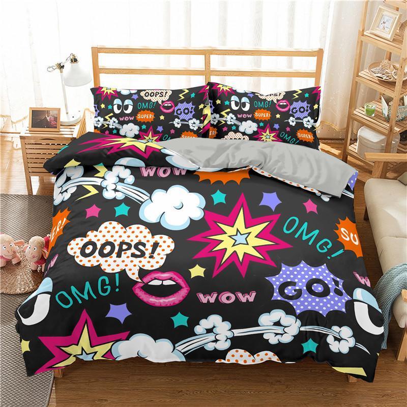 Conjuntos de ropa de cama Amarillo Hip Hop Print Funda de edredón Conjunto de ropa de dibujos animados niños ropa de cama con funda de almohada Bed Home Textiles