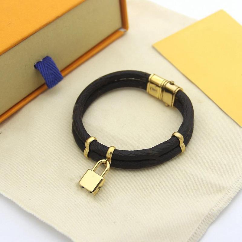 Nouveau bracelet populaire cuir fleur serrure bracelet bracelet en cuir de haute qualité bracelet en acier inoxydable pendentif mode bijouterie
