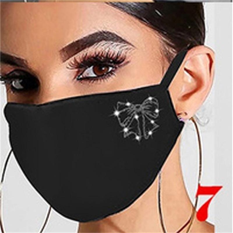 Moda Sparkling Strass Mulheres Jóias Elástico Máscara Mágica Lenços Reutilizáveis Moda Lavável Máscaras Bandana Masks Headwears 85 V2