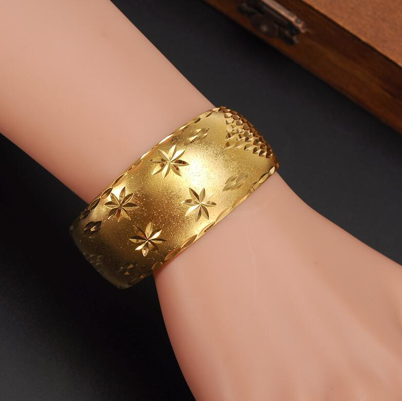 Wide Bangles for Women's 14 k Yellow Solid Gold Filled Dubai Jewelry Star Bangle Open Bracelets Bridal Gift/Mom Presentps1941