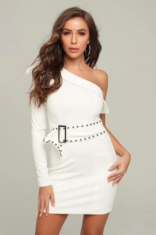 2021 Nueva llegada Sexy Sleeve Sleeve White Women Designer Fashion Party Party Vestido 2J1F