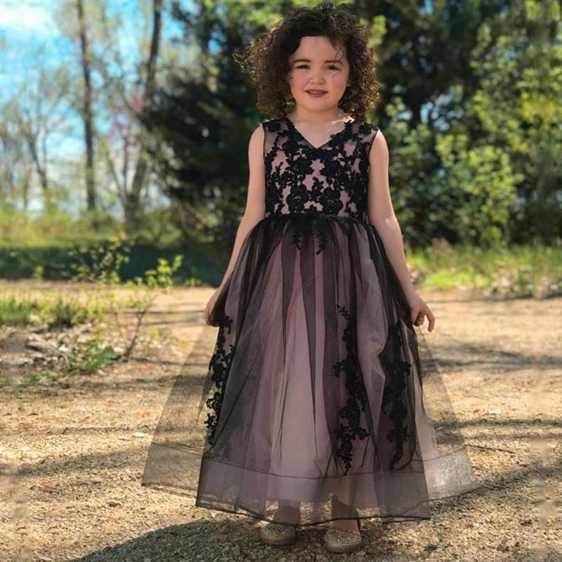 Vestidos de niña Flor chica para bodas aplique de encaje sheer manga larga bola vestido de bola sin espalda niñas vestido de cumpleaños