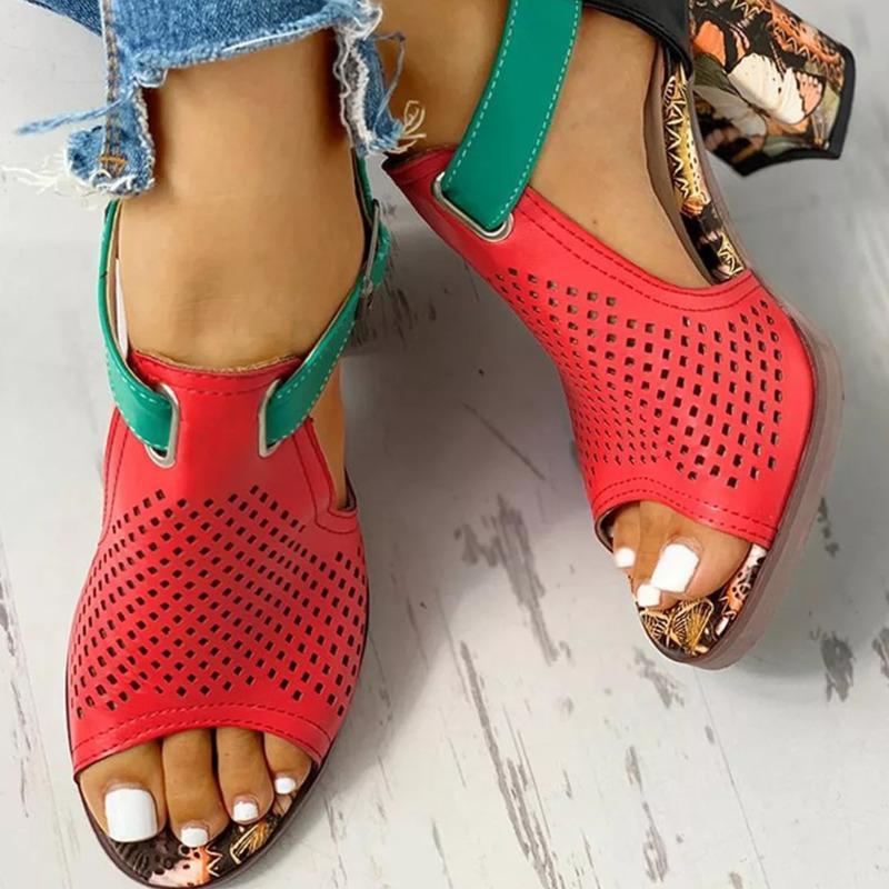 Verão Fisherman Sandálias Mulheres Casual Grosso High Heaver Peep Toe Sapatos Feminino Capa Capa Red Buckle Sandálias Senhoras 2021 novos sapatos