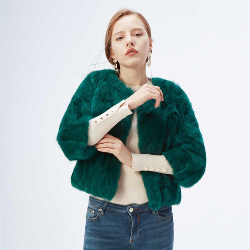 Ethel Anderson 100% Gerçek Tavşan Kürk kadın Ceket / Ceket Dış Giyim Güzellik Mor Renk XXXL Boyut Coat 210906