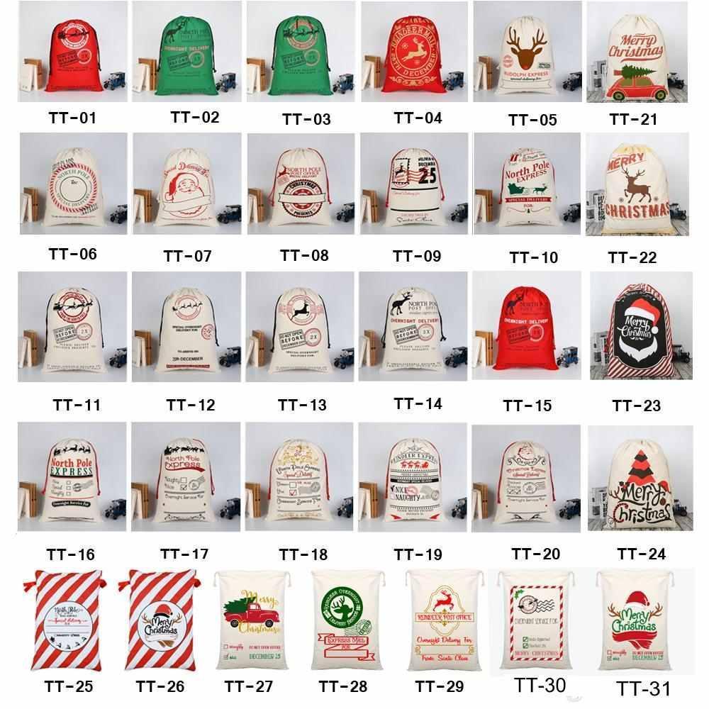 2021 Neueste Stile Weihnachtsgeschenkbeutel Große Bio Heavy Canvas-Tasche Santa Sack Kordelzug Tasche mit Rentiers Gyqqq