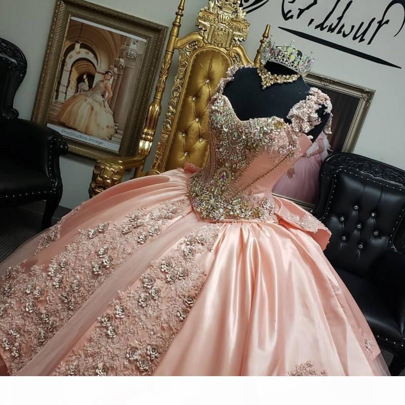 С плечами розовый Quinceanera платья приплывшими шариковым шариком из бисера PROM PROMED SWEEL 16 платье Vestidos de 15 A? OS
