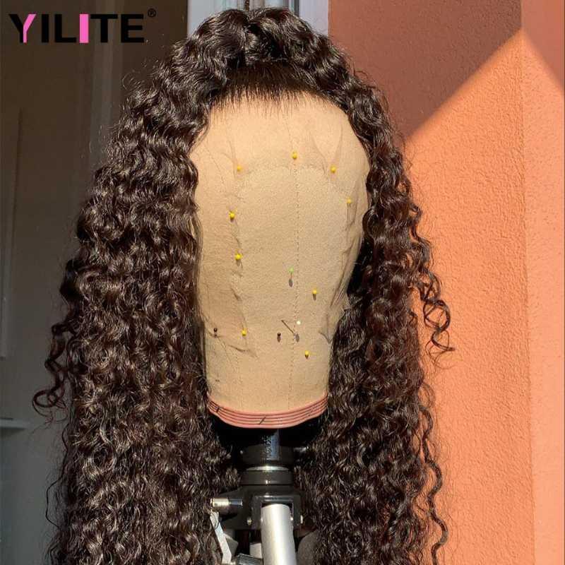 الرباط الباروكات طويلة 30 بوصة البرازيلي غريب مجعد للنساء شعر الإنسان الأفرو السويسري إغلاق شفافة 13x4 الجبهة