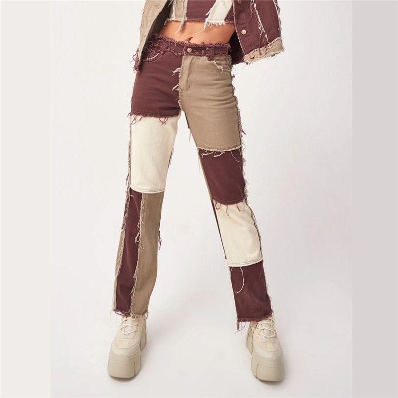 Patchwork High Waist Straight Denim Pants Women Casual Skinny Ripped Jeans Capris Pocket Long Trousers Ladies Streetwear