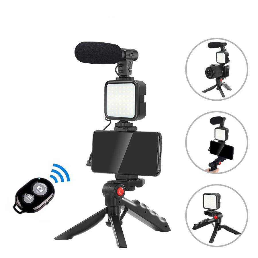 Vlog Shooting Kits Studio Fotografie Anzug mit Mikrofon LED Fill Light Tripod für Smartphone Kamera Videoaufzeichnung