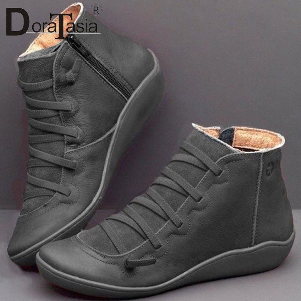 Doratasia New Big Size 35 43 Ladies Ins Stivali Hot Boots Donne Zip Cross Legato Stivaletti Stivaletti Sole Hot Suola Tacchi Scarpe Donna B2CD #