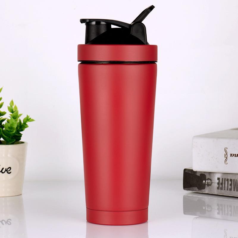 البروتين شاكر كأس المقاوم للصدأ معزول القدح زجاجة المياه في الصالة الرياضية تدريب شرب مسحوق الحليب خلاط السفر زجاجات المحمولة 129 v2