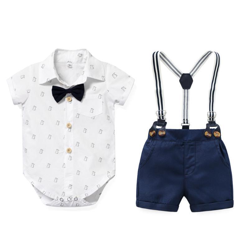 Conjuntos de ropa Baby Boy Ropa 100% algodón Blanco Romper + Bow Navy Shorts Portadillas Cinturón Transporte corto para Nacido